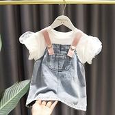 女童T恤背帶裙兩件套中小童洋氣裙子秋裝韓版短袖牛仔洋裝套裝 幸福第一站