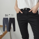 雙釦彈性窄管牛仔褲M-XL號-BAi白媽媽【310193】
