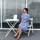 大韓訂製連身裙減齡格子收腰時尚中長款女洋裝