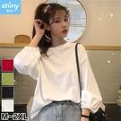 【V3049-1】shiny藍格子-瑕疵特賣.純色圓領寬鬆燈籠袖上衣