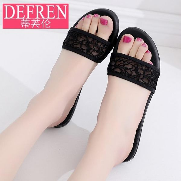 蕾絲涼拖鞋女鞋夏平底學生露趾涼鞋平跟軟底時尚一字拖鞋 歌莉婭
