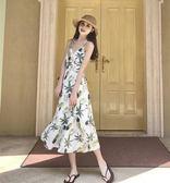 夏裝新款女溫柔氣質菠蘿顯瘦印花長裙百搭交叉露背吊帶連衣裙 草莓妞妞