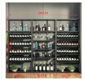 復古歐式鐵藝酒架酒吧落地酒柜葡萄酒紅酒收納展示架置物架酒杯架 酷男精品館