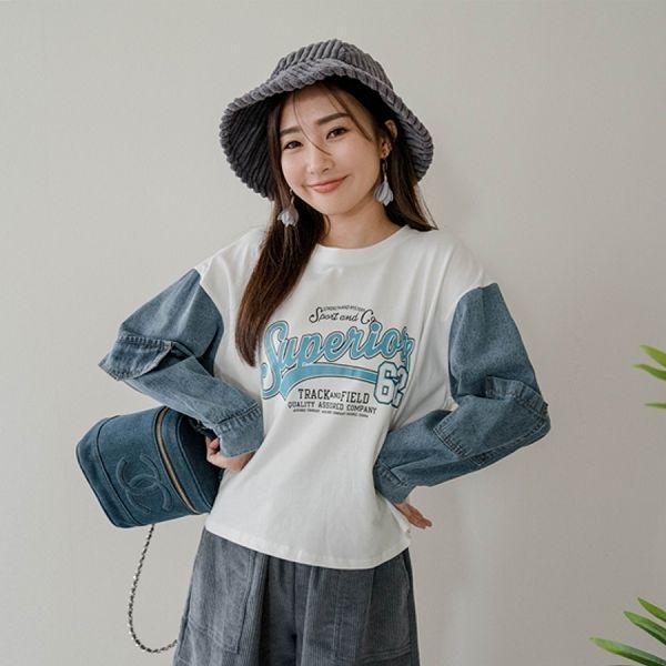 滿800折100 MIUSTAR 袖牛仔口袋造型膠印棉質上衣(共2色)【NH2705】預購