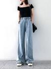 牛仔寬褲 闊腿牛仔褲高腰寬鬆小個子泫雅同款直筒