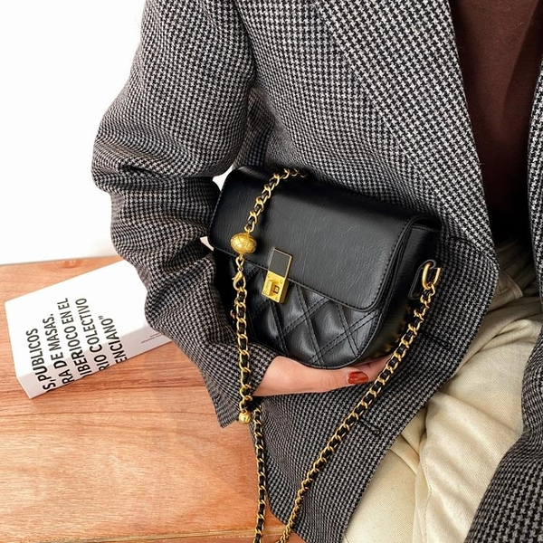 馬鞍包 北包包質感包包女包2021新款潮馬鞍包鍊條斜背包洋氣小眾側背小包 非凡小鋪 新品