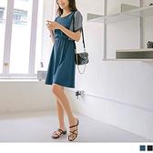 《DA8832-》高含棉條紋拼接鬆緊收腰傘襬短袖洋裝 OB嚴選