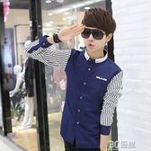 襯衫 夏季時尚條紋白色長袖襯衫男士韓版修身型青少年休閒印花襯衣潮寸 3C優購