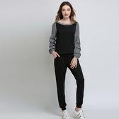 中大尺碼~簡潔圓領上衣休閒長褲套裝(L~5XL)