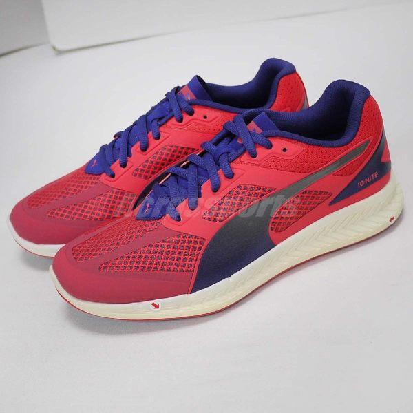 【NG出清】Puma 慢跑鞋 Ignite Mesh Wns 粉紅 藍 銀 雙腳中底黃 女鞋 運動鞋【PUMP306】