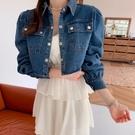 韓國製.甜美復古公主袖牛仔排扣短版外套.白鳥麗子