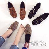 豆豆鞋女平底鞋百搭復古方頭金屬扣單鞋懶人樂福鞋 衣櫥の秘密