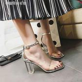 粗跟涼鞋女新款透明鞋跟水晶鞋高跟女鞋羅馬仙女的鞋復古〖雙十一預熱瘋狂購〗