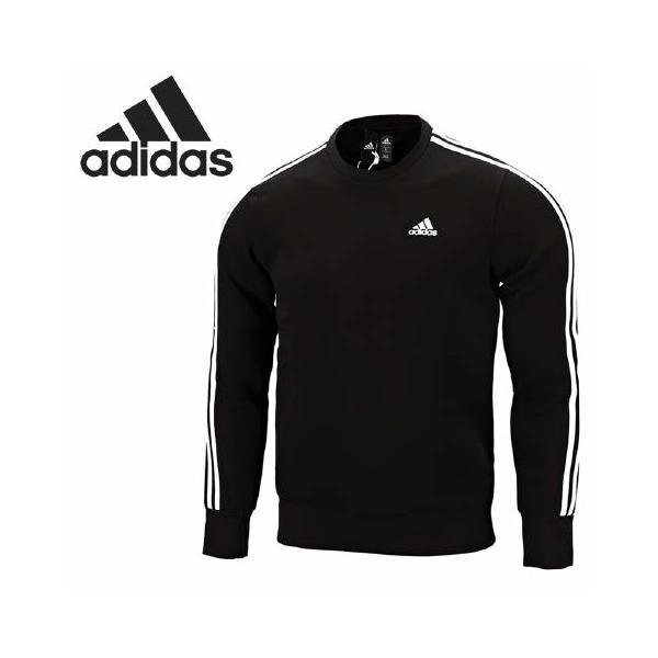 Adidas Essentials 3-Stripes 黑白三條線刷毛大學T -男款- NO.bq9645