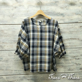 【Tiara Tiara】百貨同步aw 英倫格紋飛鼠袖寬版純棉襯衫(藍黃格/藍綠格/紅黑格)