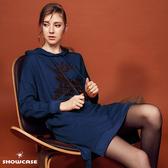 【SHOWCASE】休閒連帽麋鹿亮片小開叉舒適寬鬆洋裝(藍)