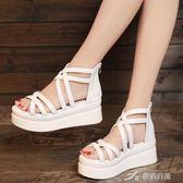 夏季新款夾趾涼鞋平底坡跟女鞋鬆糕內增高百搭休閒學生涼鞋潮 樂芙美鞋