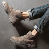 馬丁靴男 中筒靴秋冬季馬丁靴男高幫工裝鞋中幫戰狼潮男靴英倫風軍靴沙漠短靴-樂購旗艦店