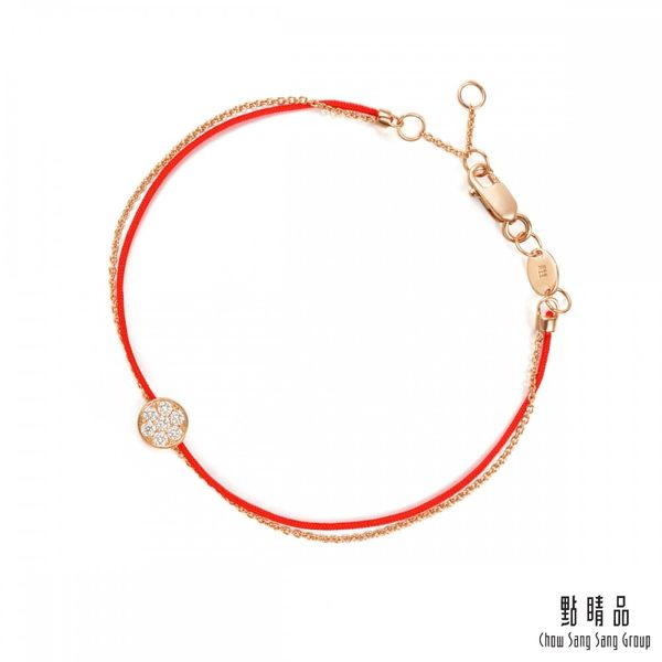 點睛品 Wrist Play 圓滿 18K玫瑰金鑽石紅繩手鍊