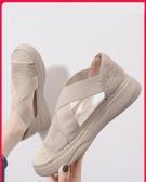 漁夫鞋女2020年新款夏天款透氣網面平底夏季百搭厚底單鞋鬆糕網鞋 韓國時尚週
