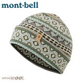 【Mont-Bell 日本 Merino Wool Jacquard Warm保暖提花帽《淺綠》】1118236/羊毛帽/針織帽