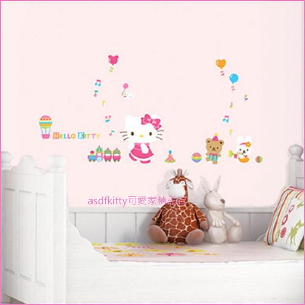 asdfkitty可愛家☆KITTY熱氣球大型壁紙-壁貼-牆壁.瓷磚.玻璃.鏡子...都可貼-韓國製