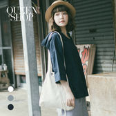 Queen Shop【01120122】抽繩連帽棉麻寬版上衣 三色售*預購*