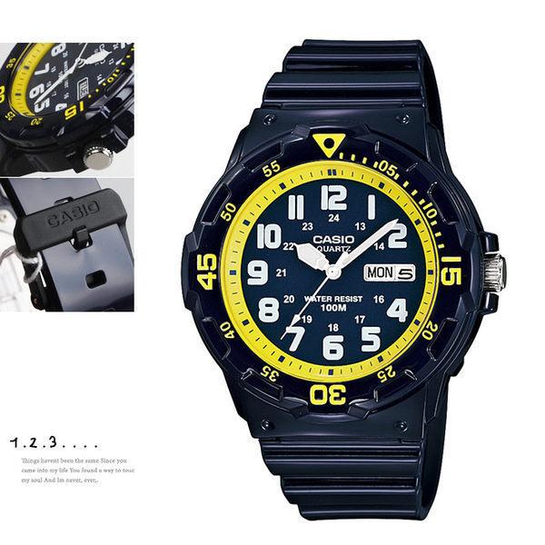 CASIO卡西歐 MRW-200HC-2B 指針錶 黃藍 深藍面 日期星期顯示 數字錶 大錶盤 47mm 男錶 MRW-200HC-2BVDF