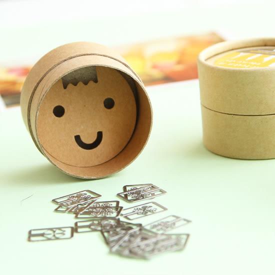 ♚MY COLOR♚卡通造型迷你金屬書籤 盒裝20枚入 文具 學生 上班族 原創 裝飾【P229】
