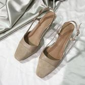 一力米灰小香風涼鞋女夏粗跟拼色涼鞋雙色鞋韓版高跟鞋小香鞋   晴光小語