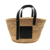 【台中米蘭站】全新品 LOEWE Basket 經典LOGO烙印皮革竹編提籃手提/肩背包-中(黑)