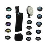 [9美國直購] 14合1手機相機鏡頭 七段式自拍環燈 抖音 直播 20倍遠攝 廣角 微距 魚眼 萬花筒