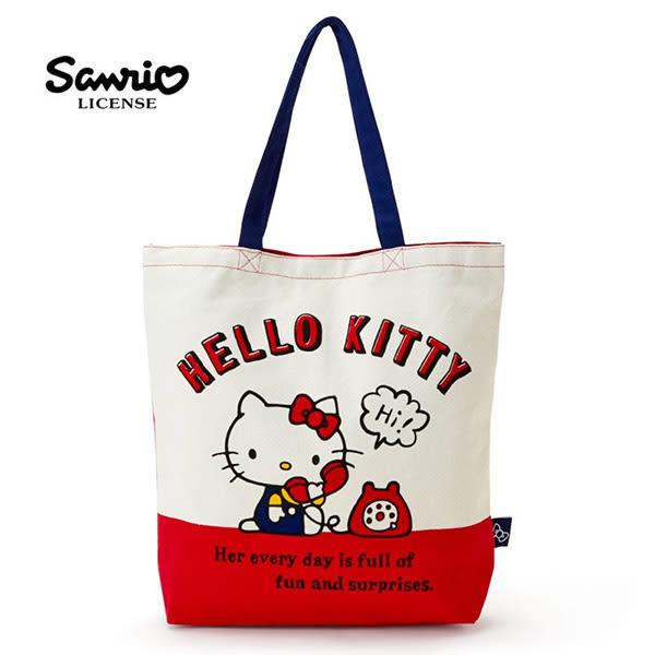 【日本正版】凱蒂貓 帆布 肩背包 托特包 手提袋 肩揹提袋 Hello Kitty 三麗鷗 - 442910