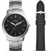 【台南 時代鐘錶 FOSSIL】FS5451SET 極簡主義 Minimalist 大三針時尚腕錶 替換錶帶組合 黑/銀 44mm