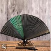 老閶門古風扇子折扇古典女式中國風定制復古折疊小扇卡通可愛生肖 qf2181【黑色妹妹】