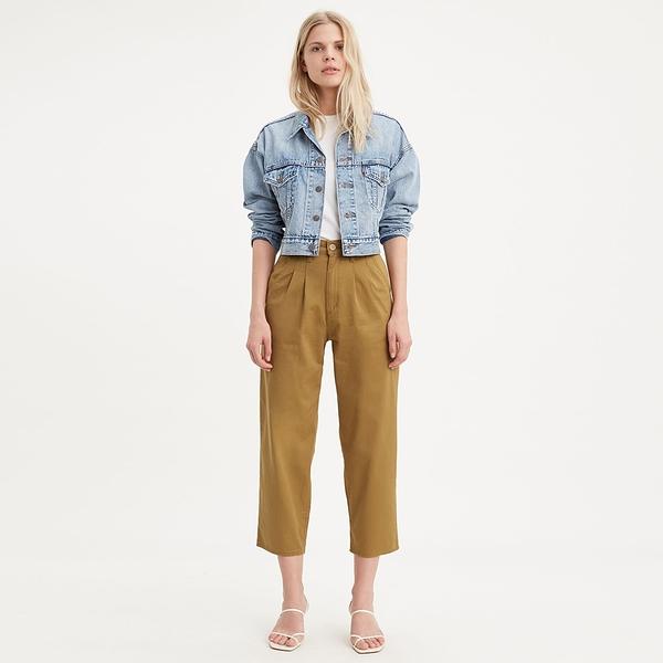 Levis 女款 Balloon 時髦高腰繭型褲 / 卡其金 / 及踝款 / 彈性布料