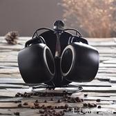 咖啡杯套裝簡約歐式陶瓷家用帶勺個性馬克杯3件套辦公室咖啡套具