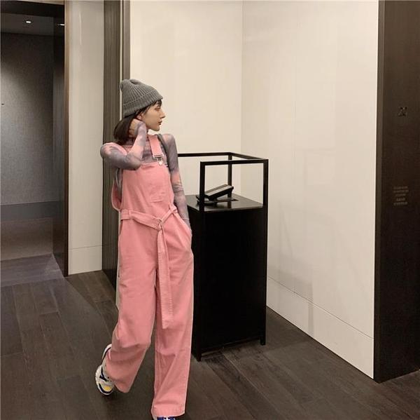 粉色牛仔褲吊帶褲女春季裝長褲2021年新款港味褲子潮寬鬆顯瘦寬管褲 「雙10特惠」