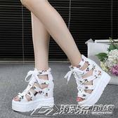 涼鞋女夏超高跟新款厚底鬆糕羅馬鞋坡跟鏤空透氣鞋內增高   潮流前線