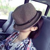 韓國帽子女春夏潮韓版英倫百搭捲邊小禮帽遮陽爵士帽男草帽子情侶