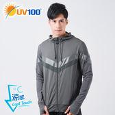 UV100 防曬 抗UV-涼感金屬拼接透氣連帽外套-男