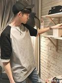 夏季韓版男士拼色短袖T恤寬鬆圓領情侶百搭學生衣服艾美時尚衣櫥