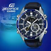 CASIO手錶專賣店  CASIO EDIFICE_ERA-600L-2A_世界時間_LED_溫度計_皮革錶帶_男錶
