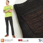 【NST Jeans】塗鴉線條圖騰 歐系修身小直筒 彈性男黑褲 388(6531)