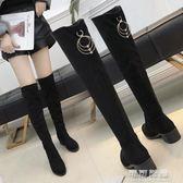 網紅長筒靴鞋子女秋季薄百搭韓版中跟粗跟膝上靴瘦瘦靴 可可鞋櫃