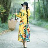 週年特惠 洋裝 秋季民族風中長款大尺碼女裝寬鬆棉麻印花長袖連身裙 隨想曲