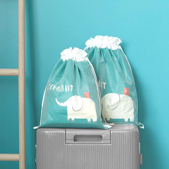 雙層旅行收納束口袋(小39.5x31.2cm) 抽繩袋分裝整理袋 旅行鞋包  防塵【Y024】米菈生活館