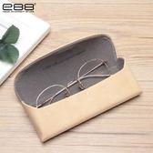 交換禮物-眼鏡盒女卡其色大框正韓手工抗壓磨砂皮質文藝便攜配鏡盒