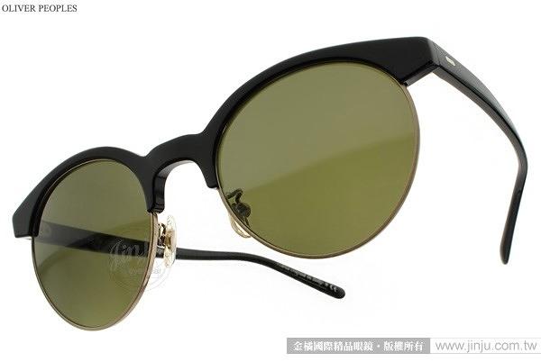 OLIVER PEOPLES 太陽眼鏡 EZELLE 100552 (黑) 復古圓框款 # 金橘眼鏡