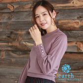 ❖ Autumn ❖ 鏤空鉤織珍珠袖口設計扇形領針織上衣 - earth music&ecology
